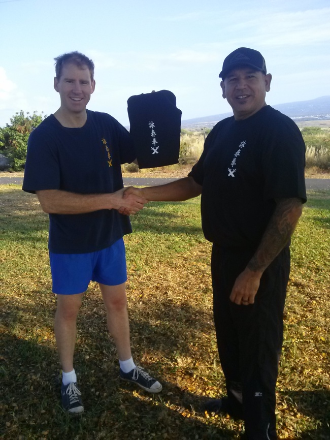 Scott Cannam receives Black Shirt/Sash in Kailua Kona, Hawaii.